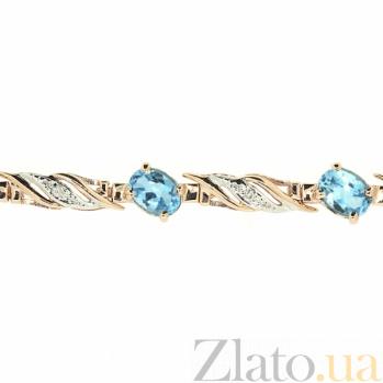 Золотой браслет Блюз с голубыми топазами и бриллиантами ZMX--BCT-6098_K
