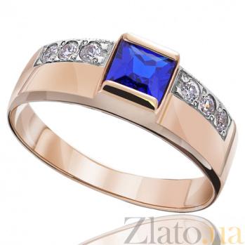 Золотое кольцо с синим цирконием Принцесса EDM--КД025С