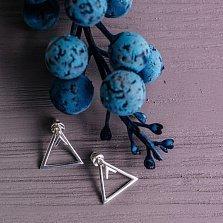 Серебряные серьги-джекеты Треугольнички в стиле минимализм
