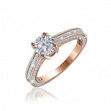 Серебряное кольцо Дамиана с позолотой и фианитами