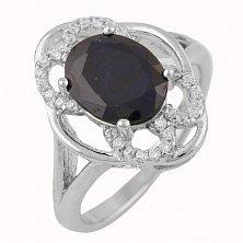 Серебряное кольцо Альмавива с сапфиром и фианитами