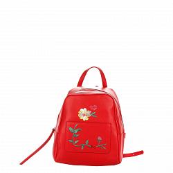 Кожаный рюкзак Genuine Leather 8710 красного цвета с декоративной вышивкой