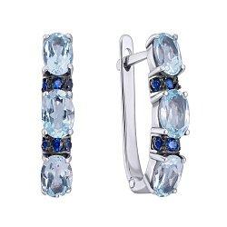 Серебряные серьги Наяда с голубыми топазами