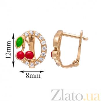 Детские золотые серьги Вишенки SVA--2101747101/Фианит/Цирконий