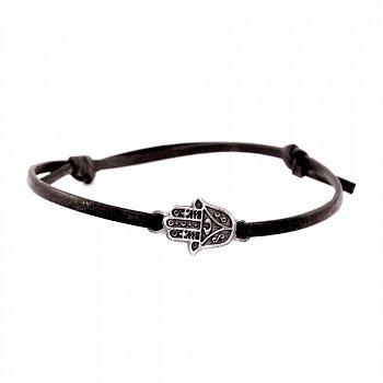 Кожаный браслет с серебром Hamsa Black с чернением 000091309