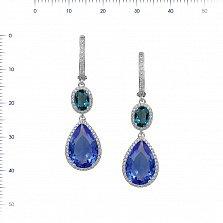 Серебряные серьги-подвески Тихие омуты с синим синтезированным кварцем и фианитами