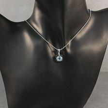 Серебряная подвеска Ноэль с голубым топазом и черными фианитами