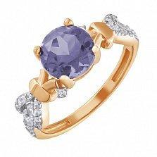 Золотое кольцо Анонс с корундом александрита и фианитами