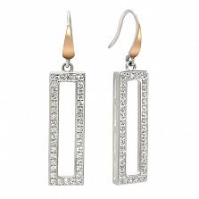 Серебряные серьги Мадлен с золотыми вставками и фианитами