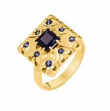 Золотой перстень Копи фараона в желтом цвете с сапфирами и перфорацией