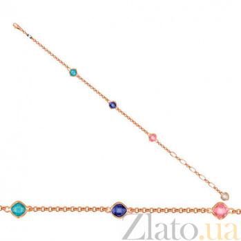 Золотой браслет Цветные блики с фианитами VLT--Н502