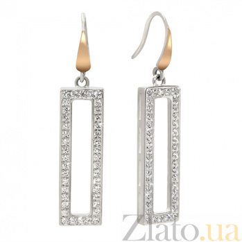 Серебряные серьги Мадлен с золотыми вставками и фианитами BGS--1006-А/с