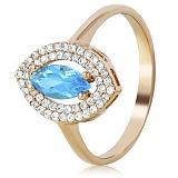 Золотое кольцо с топазом и фианитами Леокадия