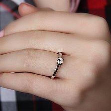 Золотое кольцо Миррина в белом цвете с бриллиантом