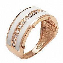 Кольцо в красном золоте Миранда с эмалью и фианитами