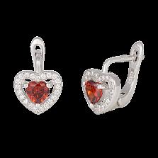 Серебряные сережки с красным цирконием Love you