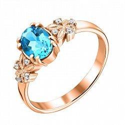 Кольцо из красного золота с топазом Swiss blue и цирконием 000125690