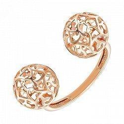Разомкнутое кольцо из красного золота с ажурными шариками 000139208