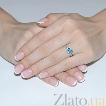 Кольцо в белом золоте Гордана с голубым топазом и фианитами SVA--1190726102/Топаз голубой