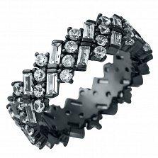 Серебряное кольцо Шакира с фианитами и черным родием