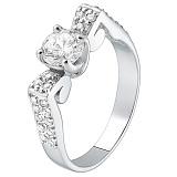 Серебряное кольцо с фианитами  HUF--14673-Р в интернет магазине Злато