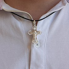 Серебряный крест Хранитель с вырезными фрагментами и насечкой