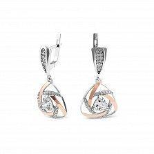 Серебряные серьги-подвески Розалинда с золотыми накладками, фианитами и родием