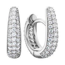 Серебряные серьги-конго с фианитами 000135277