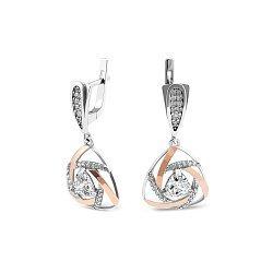 Серебряные серьги-подвески с золотыми накладками, фианитами и родием 000072606
