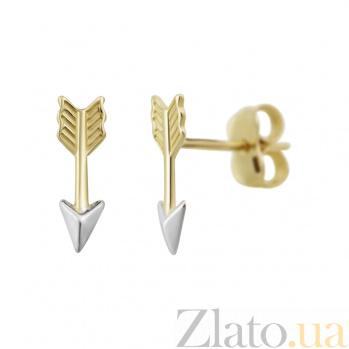 Серьги-пуссеты из комбинированного золота Стрела 000081422