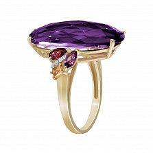 Золотое кольцо Джеральдина с аметистами, цитринами и бриллиантами