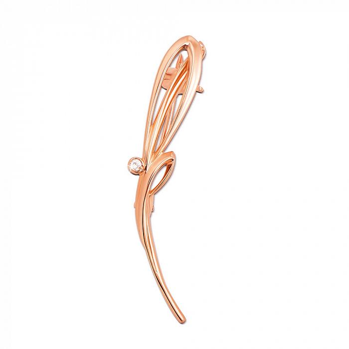 Золотая брошь Камыш в красном цвете с фианитом 000129591