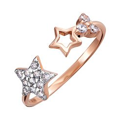 Кольцо в красном и белом золоте с фианитами 000121623