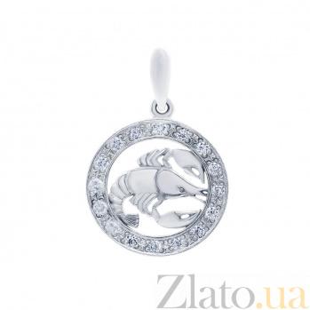 Кулон серебряный знак зодиака Рак AQA--3084-4