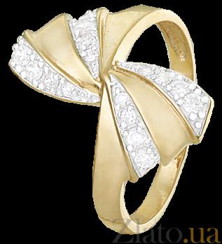 Серебряное кольцо с позолотой и фианитами Бантик 000025607