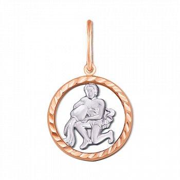 Золотий кулон Водолій у комбінованому кольорі з алмазною гранню 000126426