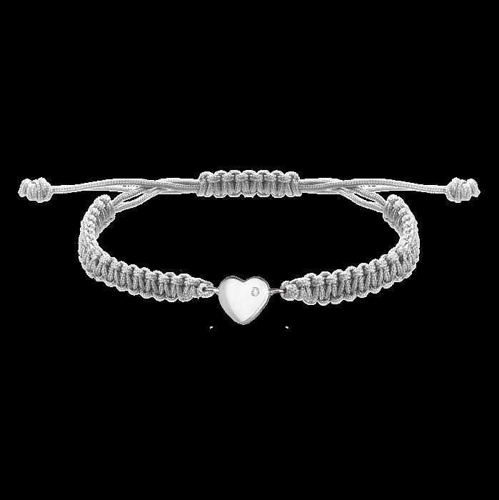 Серый плетеный браслет Люблю тебя с cеребряной вставкой-сердцем и фианитом, 10х10мм 000080672