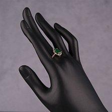 Золотое кольцо Виктория с зеленым ониксом и фианитами