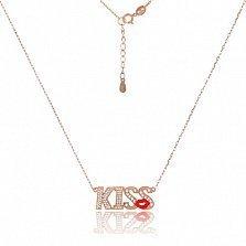 Серебряное колье с позолотой Kiss