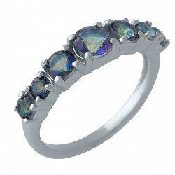 Серебряное кольцо с топазами мистик и родированием 000128956