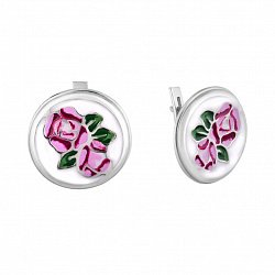 Серебряные серьги Розалинда с разноцветной эмалью