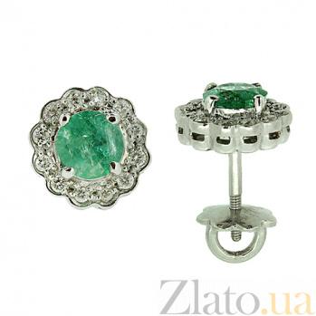 Серебряные серьги с цирконием и изумрудами Мариэль ZMX--ECzE-6287-Ag_K
