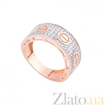 Золотое кольцо Симона в красном цвете с белыми фианитами в стиле Картье  000082362