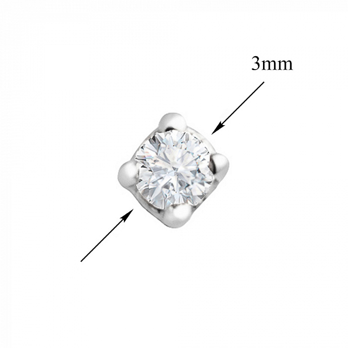 Серьга из белого золота с бриллиантом 000039159 000039159