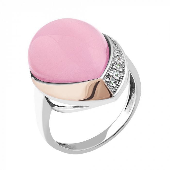 Серебряное родированное кольцо Хильдегарда с золотой накладкой, розовым улекситом и фианитами 000118677