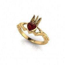 Золотое кладдахское кольцо Украинский патриот с синтезированным рубином
