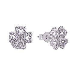 Серебряные серьги-пуссеты Клевер из сердечек в стиле Pandora