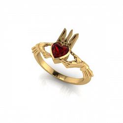 Золотое кладдахское кольцо Украинский патриот с синтезированным рубином 000089091