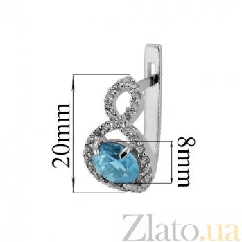 Серебряные серьги с голубым цирконием Восьмёрочка Танго с/гол цир