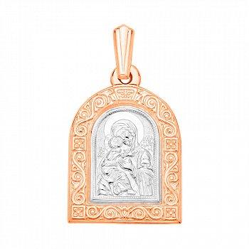 Ладанка в комбинированном цвете золота Божья Матерь с родированием 000132197